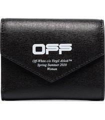 off-white logo print envelope wallet - black