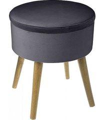 stołek welurowy pufa ze schowkiem dark grey