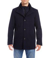 men's vince camuto short wool blend car coat, size xx-large - blue