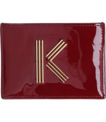 kenzo patent leather card holder with logo