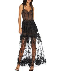 women's dress the population anabel sweetheart bustier lace gown