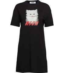 glitter print cat t-shirt t-shirts & tops short-sleeved zwart msgm