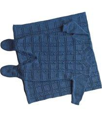 conjunto manta e macacão londres passion tricot jeans mescla - kanui
