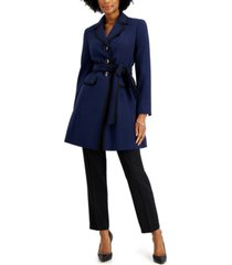 le suit belted topper-jacket pantsuit