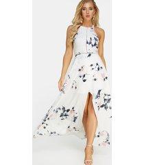 halter cuello espalda abierta estampado floral al azar maxi vestido en blanco