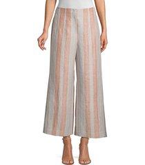 lafayette 148 new york women's downing striped linen cropped wide-leg pants - ochre - size 6