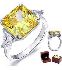 sterling 925 silver wedding anniversary ring 8 ct princess yellow canary diamond