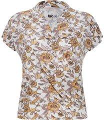 camiseta cruzada flores amarillas color blanco, talla 10