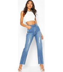 lange jeans met rechte pijpen en gescheurde knieën, middenblauw