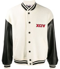 gcds contrast sleeve baseball jacket - neutrals
