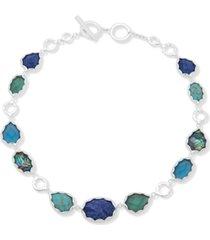"""anne klein silver-tone multi-stone 17"""" collar necklace"""