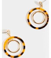 charlotte tort double circle drop earrings - tortoise