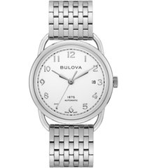 limtied edition bulova men's swiss automatic joseph bulova stainless steel bracelet watch 38.5mm