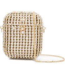 rosantica crystal-embellished airpods case - gold