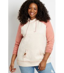 maurices plus size womens colorblock quilted front pullover hoodie beige