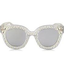 gucci designer sunglasses, gg0116s acetate cat eye women's sunglasses w/stars feature star worthy retro