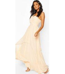 gelegenheids bruidsmeisjes maxi jurk met eén open schouder, nude