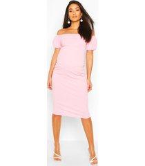 maternity bardot puff sleeve midi dress, cradle pink
