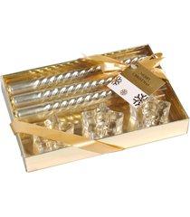 kit velas natalinas douradas 20cm + porta velas kit 6 peças