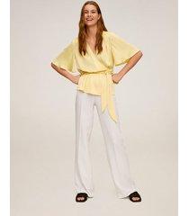 blouse met gekruist decolleté