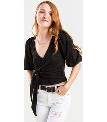 patricia puff sleeve wrap blouse - black
