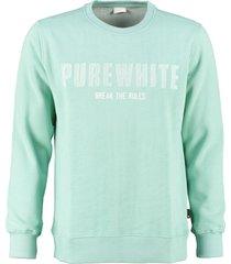 pure white zachte lichtgroene sweater