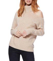 women's paige raundi cutout shoulder sweater, size medium - beige