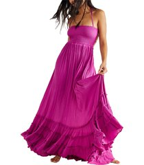 endless summer by free people extratropical smocked maxi dress, size large in electric combo at nordstrom