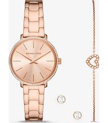 mk set mini pyper con orologio bracciale e orecchini a bottone tonalità oro rosa con pavé - oro rosa (oro rosa) - michael kors