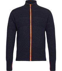 100% wool klemens zip kontrast stickad tröja cardigan blå mads nørgaard