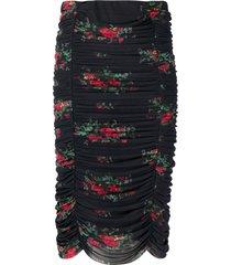ganni floral-print ruched skirt - black
