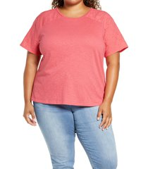 plus size women's caslon eyelet detail t-shirt
