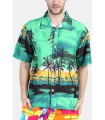 uomo camicia da spiaggia nuoto traspirabile sciolta con stile di hawaii albero di cocco