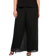 alex evenings plus size straight-leg overlay pants