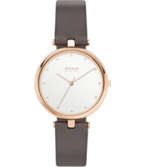 skagen women's tanja rose gold stainless steel gray leather watch 36mm