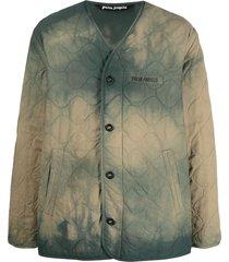 palm angels military wings tie dye jacket - green