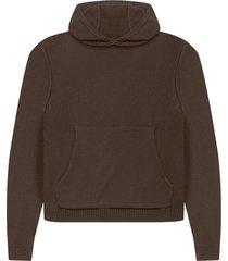laze cotton-cashmere hoodie, brown