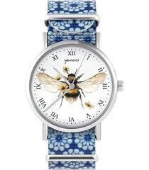 zegarek - bee natural - niebieski, kwiaty