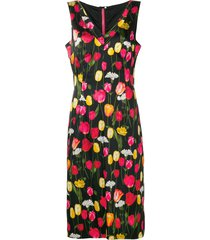 dolce & gabbana pre-owned floral print mid-length dress - black