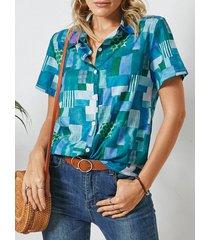 camicetta casual con risvolto manica corta con stampa geometrica per donna