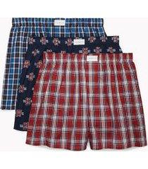tommy hilfiger men's cotton classics woven boxer 3pk red dahlia plaid/navy logo print/blue sapphire plaid - m