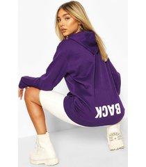 back print slogan hoodie, purple
