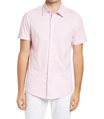 stone rose microdot stretch performance short sleeve button-up shirt, size medium in pink at nordstrom