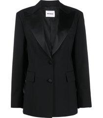brognano single-breasted wide-lapel blazer - black