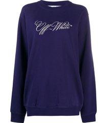 off-white logo print sweatshirt - blue