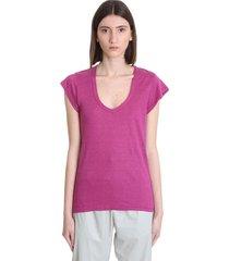 isabel marant étoile zankou t-shirt in rose-pink linen