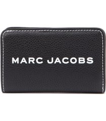 marc jacobs compact black textured leather wallet