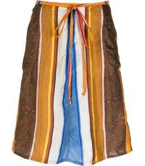 amir slama silk wrap skirt - multicolour