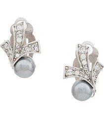 nina ricci pre-owned 1980's art deco clip on earrings - silver