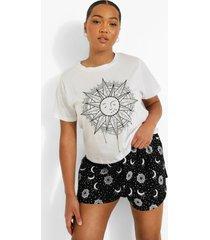 plus zon en maar pyjama set met shorts, white